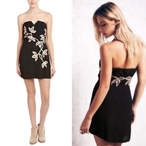 Free People - Floral Shadow Black Strapless Dress